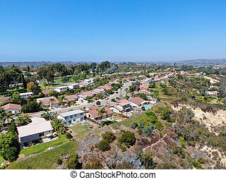 Aerial view of suburb area with residential villa in South California