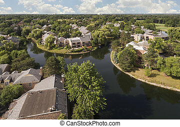 Aerial View of Suburban Development with Canals