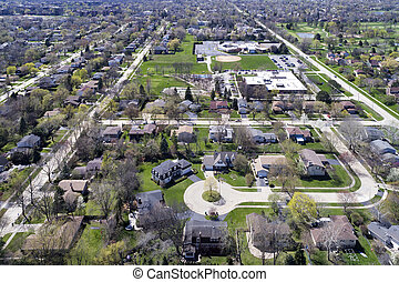 Aerial View of Suburban Neighborhood with Cul-De-Sac