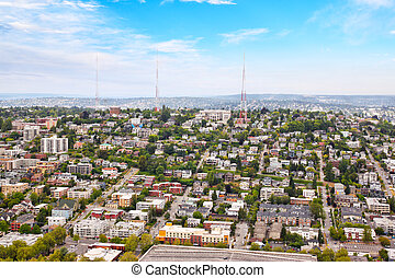 Aerial View of Suburban Seattle Neighborhood