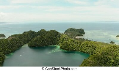 Aerial view of Sugba lagoon, Siargao,Philippines. - Cove and...