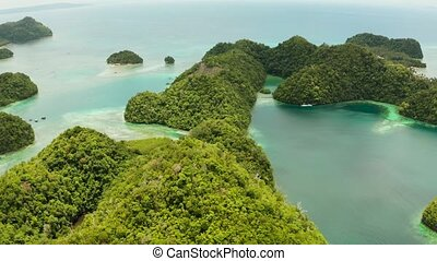 Aerial view of Sugba lagoon, Siargao,Philippines. - Lagoon...