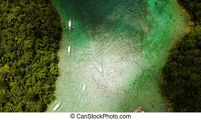 Aerial view of Sugba lagoon, Siargao,Philippines. -...