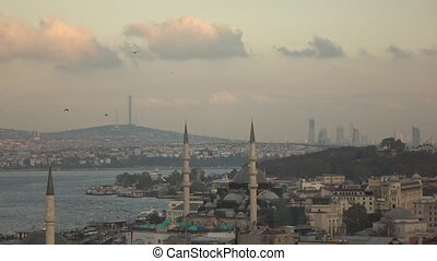 Aerial view of Sultanahmet of Istanbul, Turkey Slow motion.