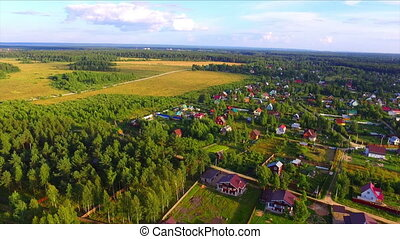 Aerial view of summer residence village in Russia at sunny...