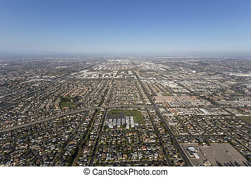 Aerial view of Summer Smog above Torrance and Los Angeles, California