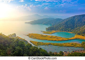 Aerial view of Sun Moon Lake, Taiwan
