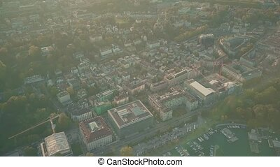 Aerial view of sunlit Zurich cityscape - Aerial view of...