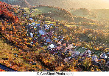 Aerial view of sunrise over rural village, Slovakia
