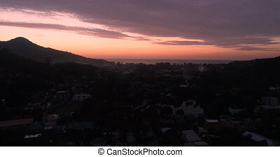 Aerial view of sunset in Phuket