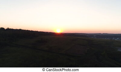 aerial view of sunset on the village