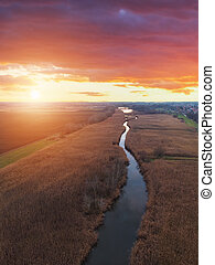 Aerial view of sunset river