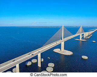 Aerial view of Sunshine Skyway Bridge