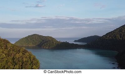 Aerial view of Surin Islands National Park ona sunny day, Phuket Province, Thailand