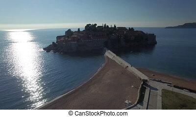 Aerial view of Sveti Stefan island