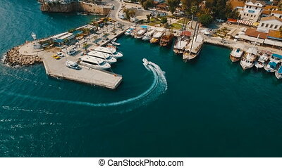 Aerial View of Swimming and Parking Boat in an Old Port,...