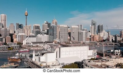 Aerial view of Sydney skline from Darling Harbour. Drone viewpoint.