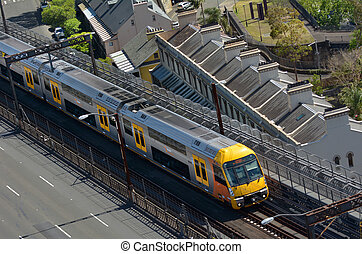 Aerial view of Sydney Trains in Sydney New South Wales...