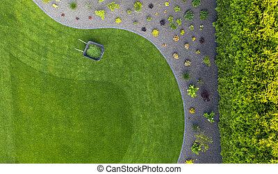 Taking Car of Residential Backyard Lawn