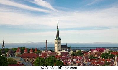 Aerial view of Tallinn, Estonia time-lapse over old town.