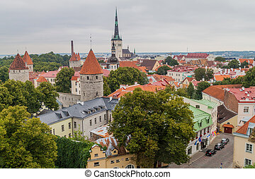 Aerial view of Tallinn Old Town, Eston