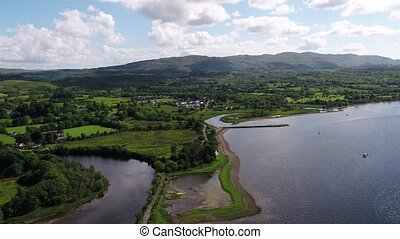 Aerial view of Taynuilt seen from Loch Etive, Argyll,...
