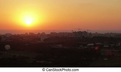 Aerial view of Tel Aviv at sunset - Aerial view of Tel Aviv...