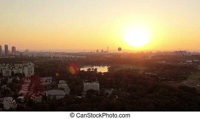 Aerial view of Tel Aviv at sunset - Aerial view of Tel Aviv...