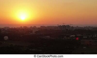 Aerial view of Tel Aviv at sunset