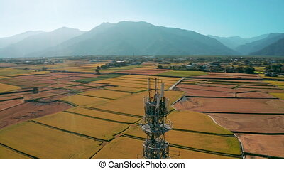 Aerial view of Telecommunication antenna tower of 4G and 5G ...