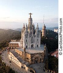 Temple Expiatori del Sagrat Cor - Aerial view of Temple ...