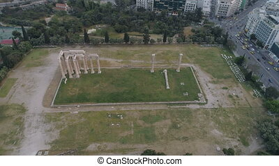 aerial view of Temple of Zeus at Olympia in Athens and...