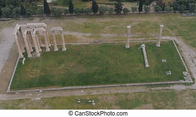 aerial view of Temple of Zeus at Olympia in Athens and modern part of the city