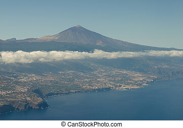Aerial view of Tenerife, Canary Islands, Spain.