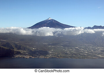 Aerial view of Tenerife island Canary Islands Spain with Teide v