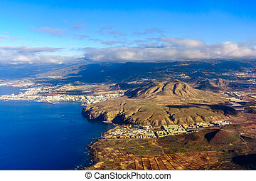 Aerial view of Tenerife. View from airplane window