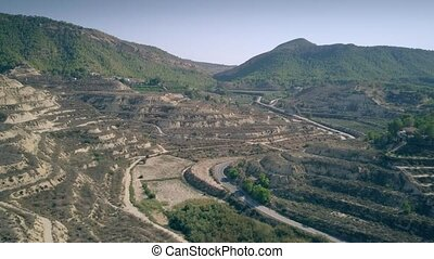 Aerial view of terraced orchards in Murcia region of Spain -...