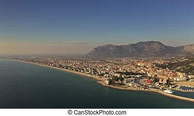 Aerial view of Terracina on a sunny day, Italy