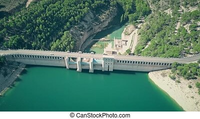 Aerial view of the Alarcon Dam on the Jucar River, Spain -...