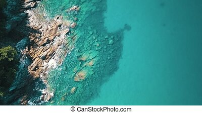 Aerial view of the amazing rocky and green coast