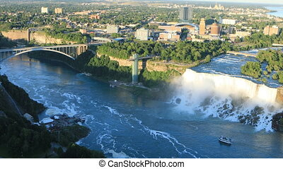 Aerial view of the American Falls and Rainbow Bridge - An...