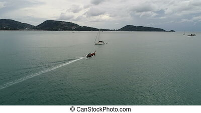 Aerial view of the Andaman sea from Patong beach in Phuket