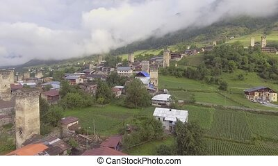 Aerial view of the authentic high mountain village in...