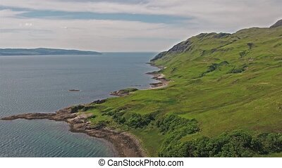 Aerial view of the bay called Camas nan Geall, Ardnamurchan,...