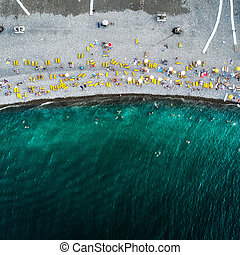 Aerial view of the beach and sea