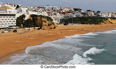 Aerial view of the beach at Albuferie, Portugal
