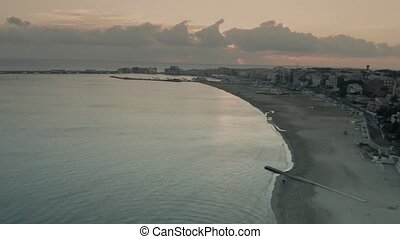 Aerial view of the beach in Anzio in the evening. Italy