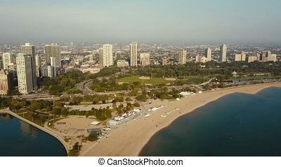Aerial view of the beach on the shore of the lake Michigan....