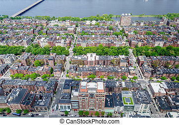 Aerial View of the Beacon Hill District, Boston, USA