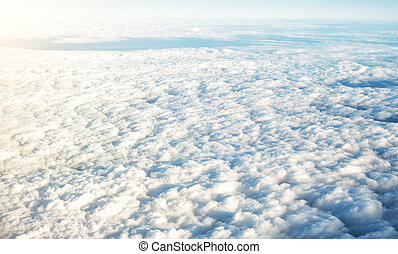 Aerial view of the beautiful cumulus clouds.